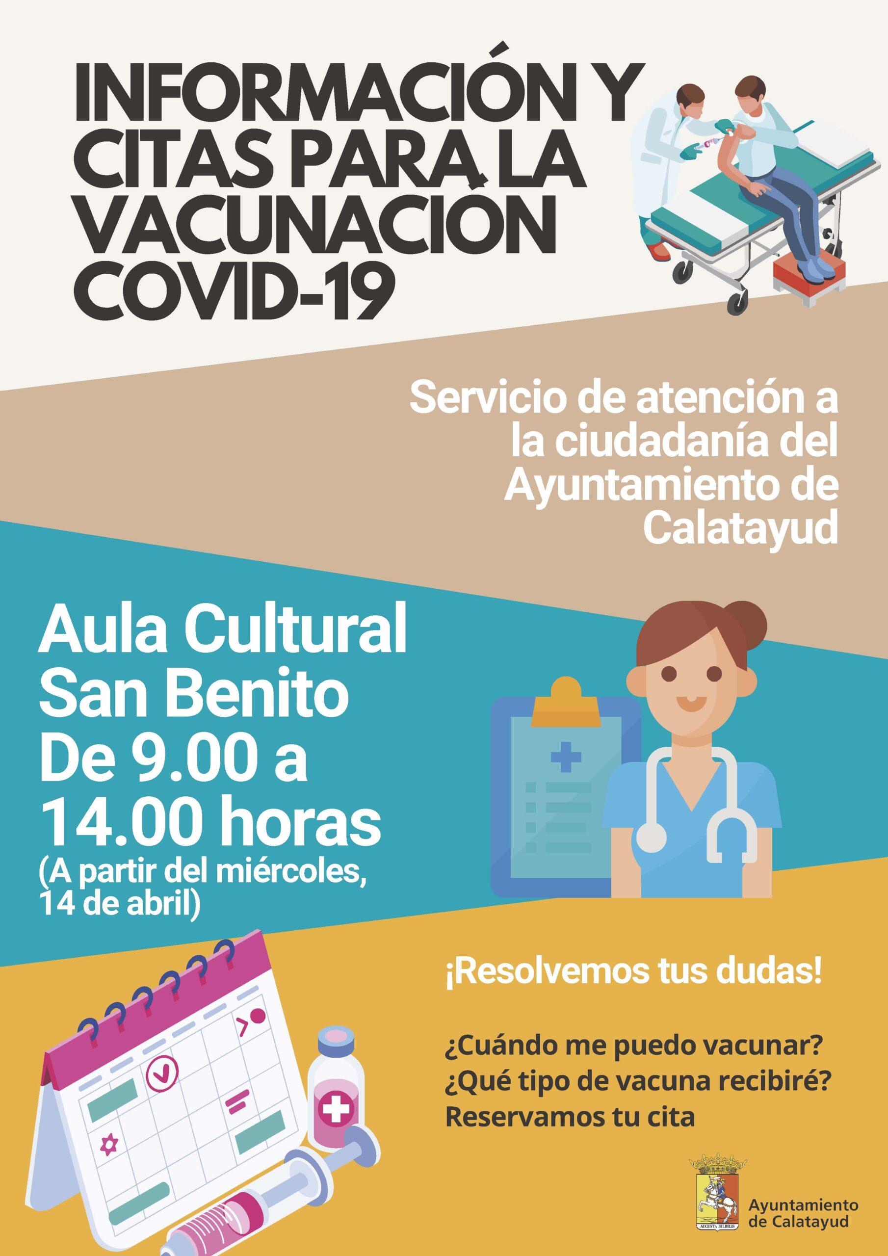 Calatayud abre desde mañana miércoles una oficina de información y cita previa para la vacunación de la COVID-19