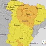 Aviso naranja para mañana por tormentas en la Ribera del Ebro y amarillo en la Ibérica Zaragozana, que podrán ir acompañadas de granizo